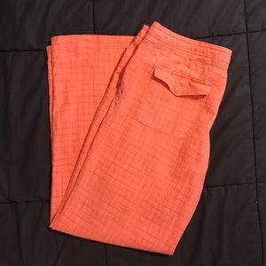 Tommy Bahama Coral Plaid Linen Pants Size 14